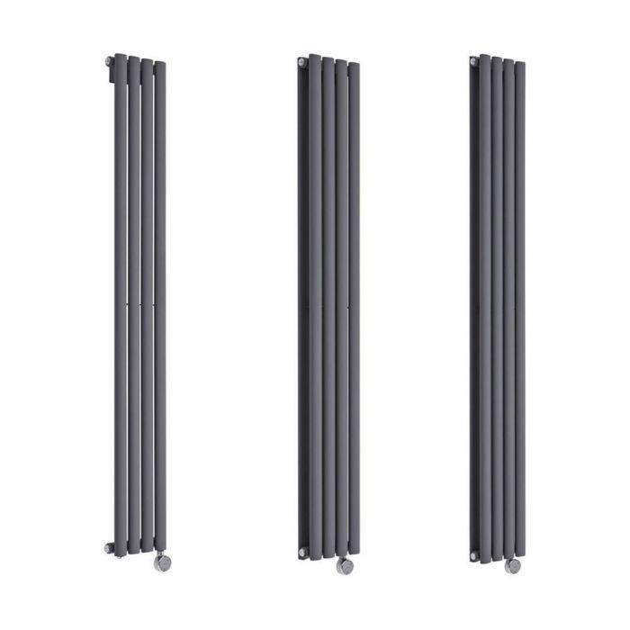 Milano Aruba Electric - 236mm Anthracite Vertical Designer Radiator - Various Sizes