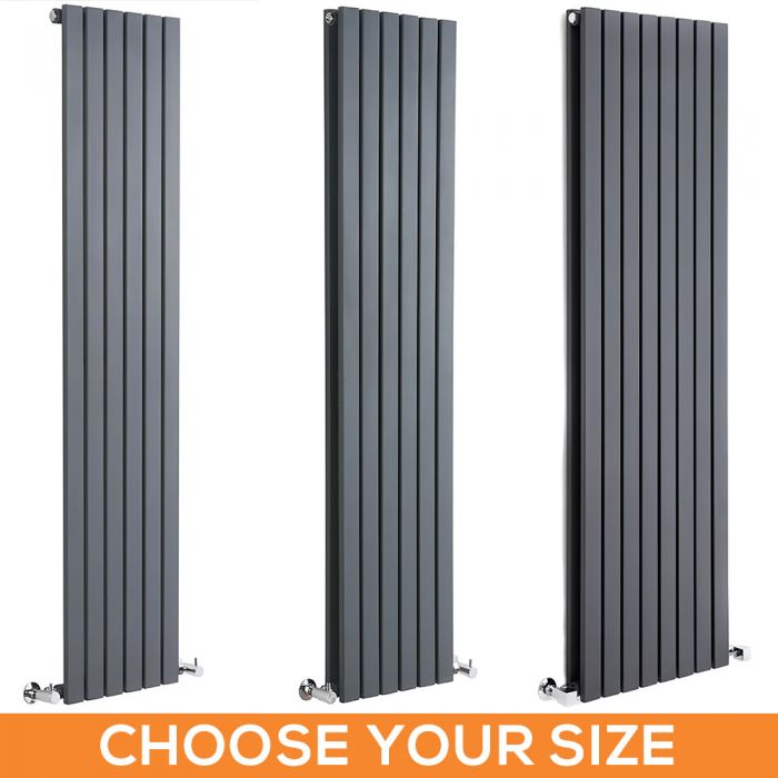 Milano Capri - Anthracite Flat Panel Vertical Designer Radiator - Various Sizes