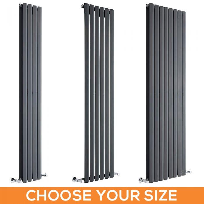 Milano Viti - Anthracite Vertical Diamond Panel Designer Radiator - Various Sizes