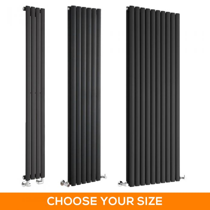 Milano Aruba - Black Vertical Designer Radiator - Various Sizes