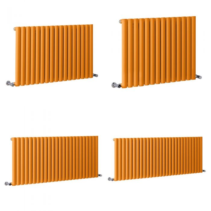Milano Aruba - Orange Horizontal Designer Radiator - 635mm Tall - Choice Of Width