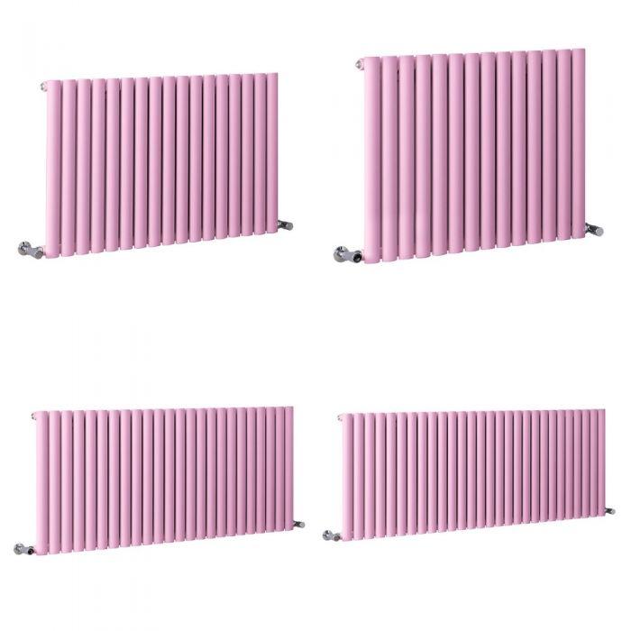 Milano Aruba - Pink Horizontal Designer Radiator - 635mm Tall - Choice Of Width