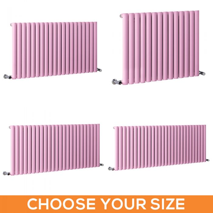 Milano Aruba - Pink Horizontal Designer Radiator - 635mm Tall - Choice Of Width