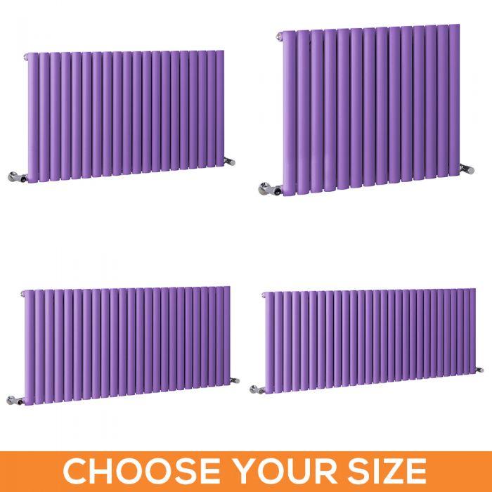 Milano Aruba - Purple Horizontal Designer Radiator - 635mm Tall - Choice Of Width