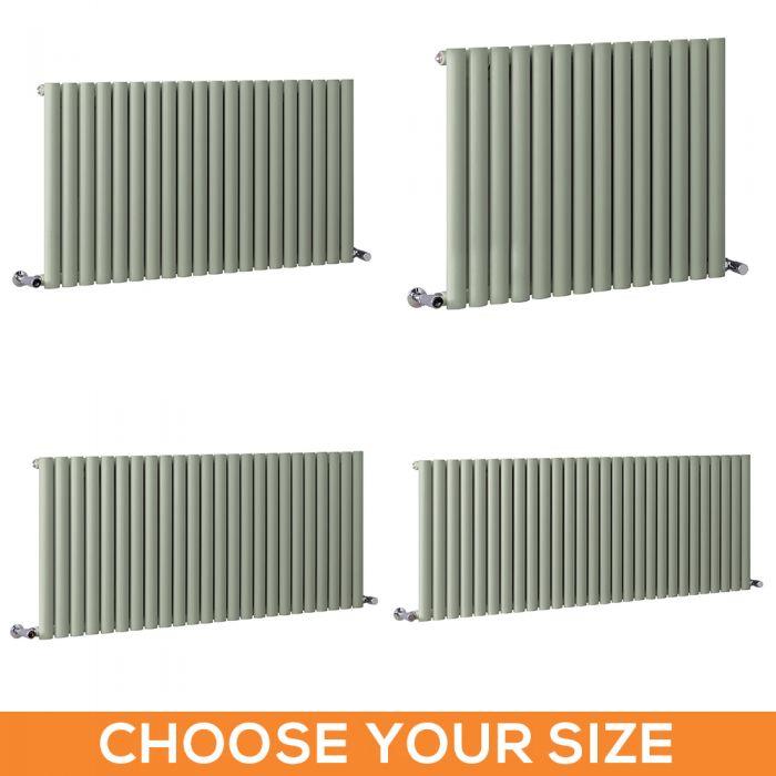 Milano Aruba - Sage Green Horizontal Single Panel Designer Radiator - Various Sizes