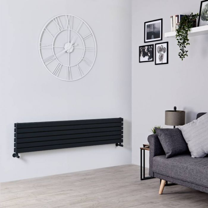 Milano Capri - Black Flat Horizontal Designer Radiator 354mm x 1600mm (Double Panel)