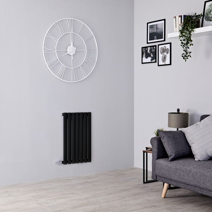 Milano Aruba Electric - Black Horizontal Designer Radiator 635mm x 413mm