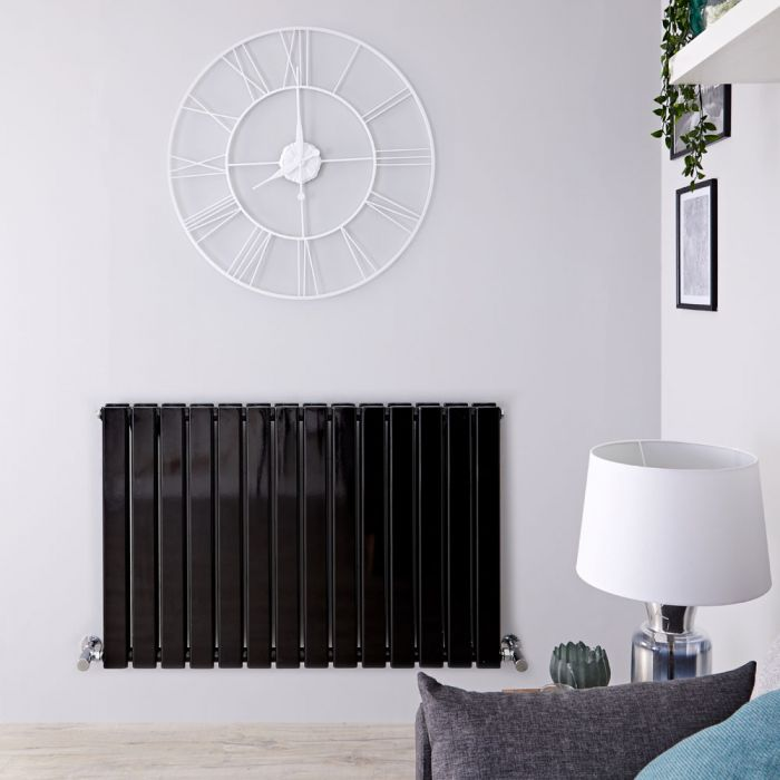 Milano Alpha - Black Horizontal Double Slim Panel Designer Radiator 635mm x 980mm