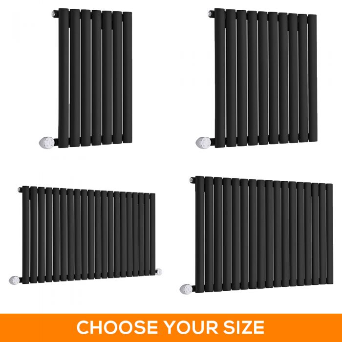 Milano Aruba Electric - Black Horizontal Designer Radiator - 635mm Tall - Choice Of Width