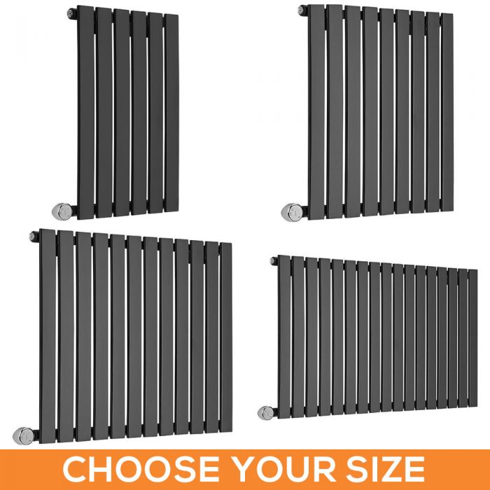 Milano Alpha Electric - 635mm Black Horizontal Designer Radiator - Various Sizes