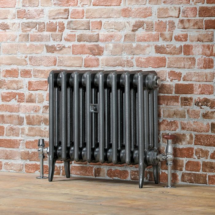 Milano Alice - Low-Level Classic Column Cast Iron Radiator - 460mm Tall - Dark Pewter - Multiple Sizes Available