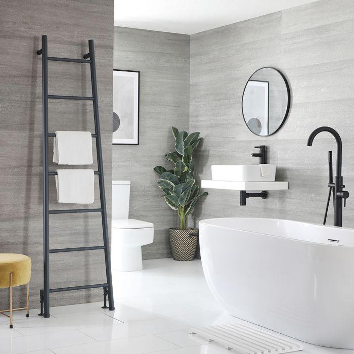 Milano Indus - Floor-Standing Anthracite Ladder Heated Towel Rail 1800mm x 500mm