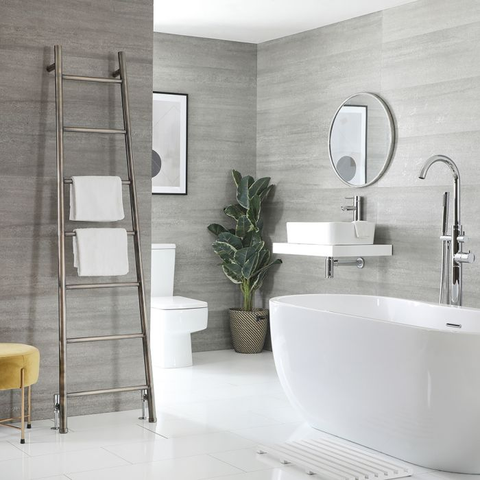 Milano Indus - Floor-Standing Brushed Brass Ladder Heated Towel Rail 1800mm x 500mm