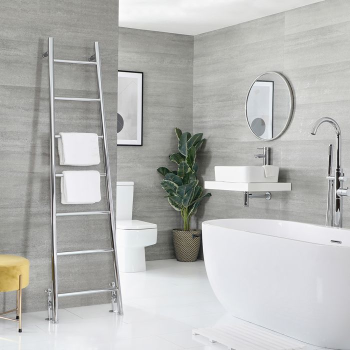 Milano Indus - Floor-Standing Chrome Ladder Heated Towel Rail 1800mm x 500mm