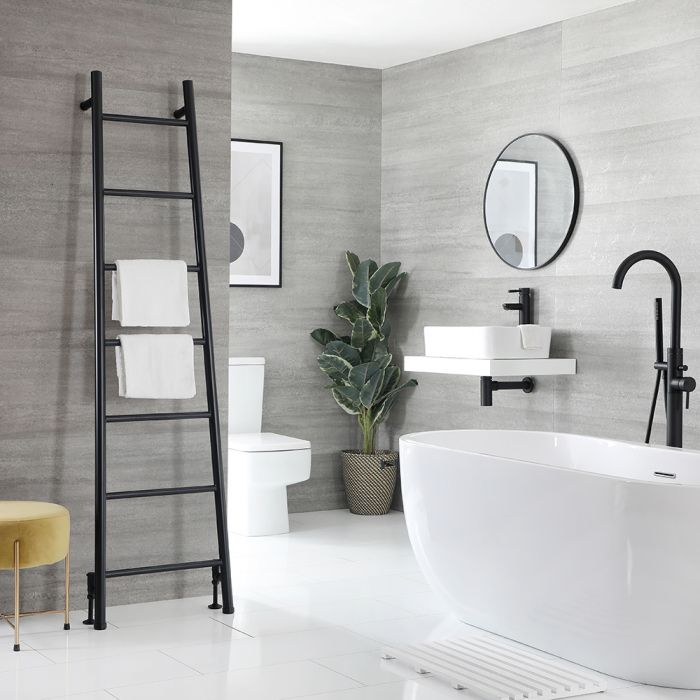 Milano Indus - Floor-Standing Black Ladder Heated Towel Rail 1800mm x 500mm