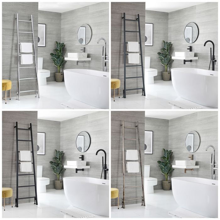 Milano Indus - Floor-Standing Ladder Heated Towel Rail 1800mm x 500mm - Choice of Finish