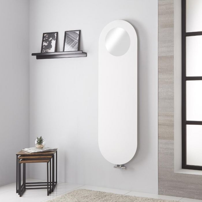 Lazzarini Way - Vulcano - White Vertical Mirrored Designer Radiator 1595mm x 495mm