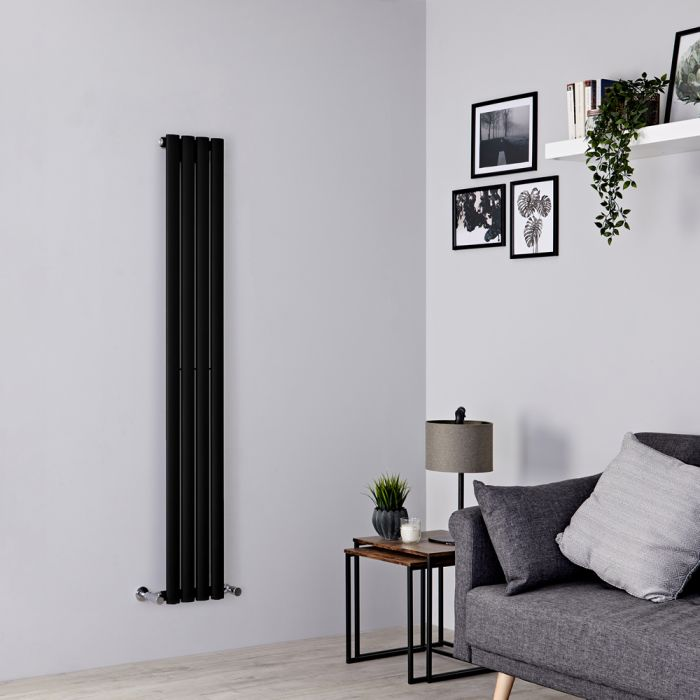 Milano Aruba Slim - Black Space-Saving Vertical Designer Radiator 1600mm x 236mm