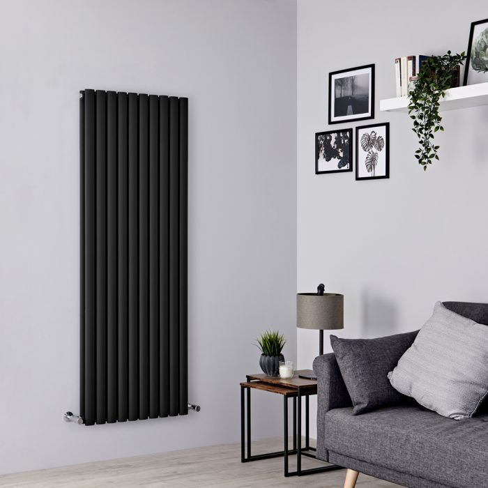 Milano Aruba - Black Vertical Designer Radiator 1600mm x 590mm (Double Panel)