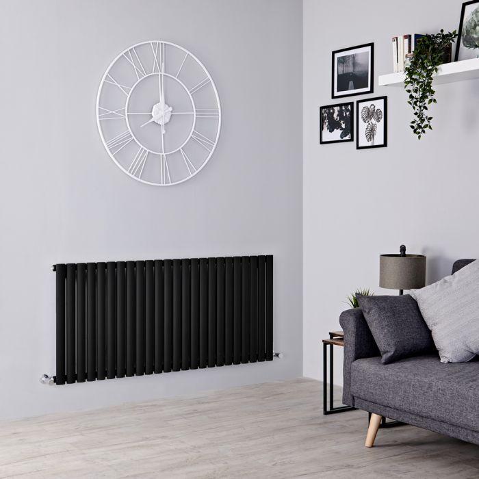 Milano Aruba - Black Horizontal Designer Radiator 635mm x 1416mm