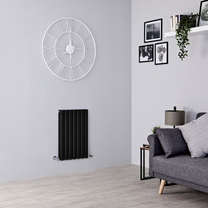 Milano Aruba - Black Horizontal Designer Radiator 635mm x 415mm (Double Panel)