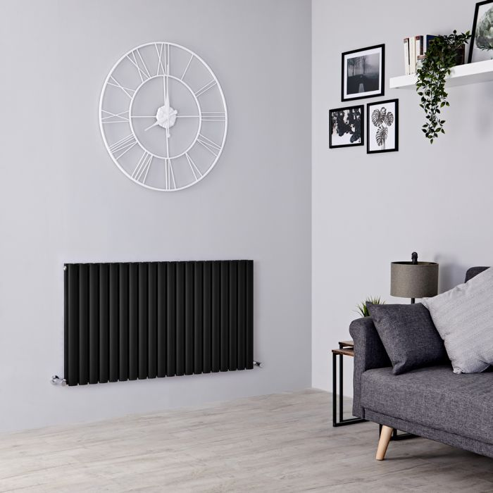 Milano Aruba - Black Horizontal Designer Double Radiator 635mm x 1180mm