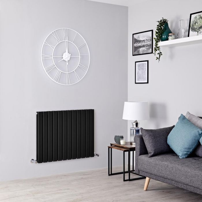 Milano Alpha - Black Horizontal Double Slim Panel Designer Radiator 635mm x 840mm