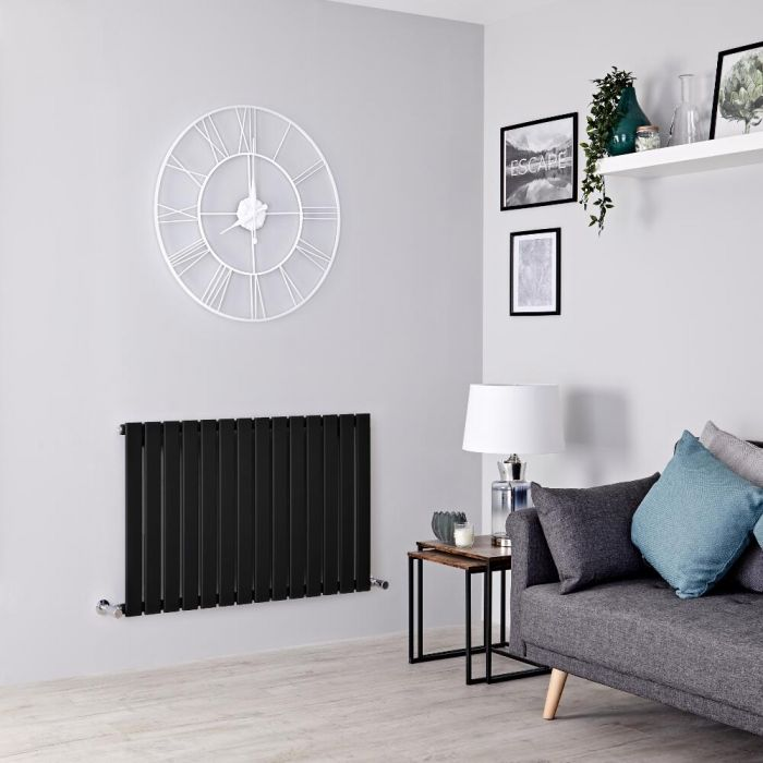 Milano Alpha - Black Horizontal Single Slim Panel Designer Radiator 635mm x 980mm