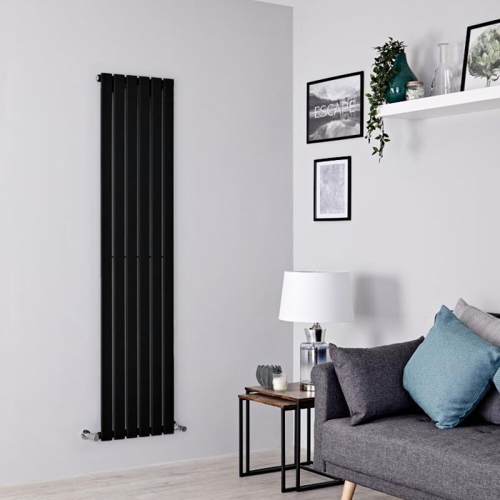 Milano Alpha - Black Vertical Single Designer Radiator 1600mm x 420mm