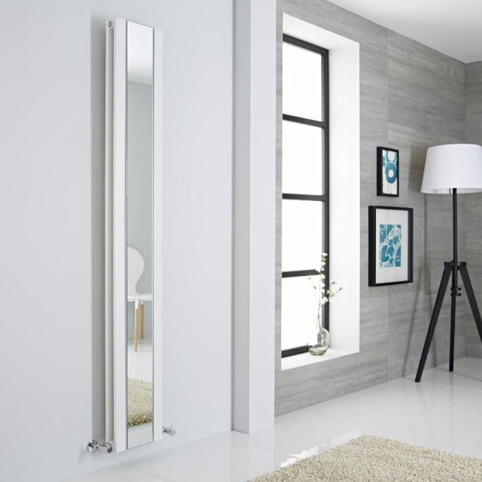 Milano Icon - White Vertical Mirrored Designer Radiator 1800mm x 265mm