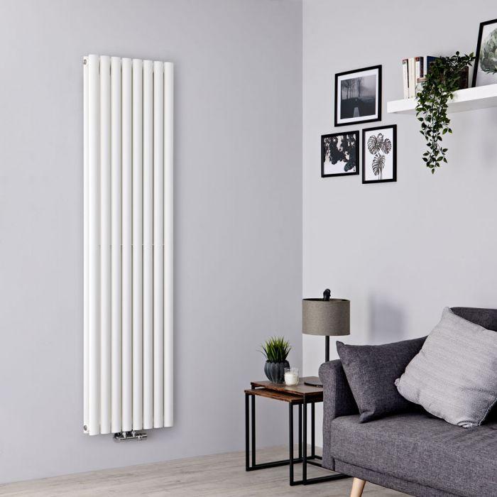 Milano Aruba Flow - White Vertical Double Panel Middle Connection Designer Radiator 1600mm x 472mm