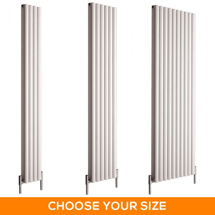 Milano Aruba Ayre - 1800mm White Vertical Aluminium Designer Radiator - Various Sizes