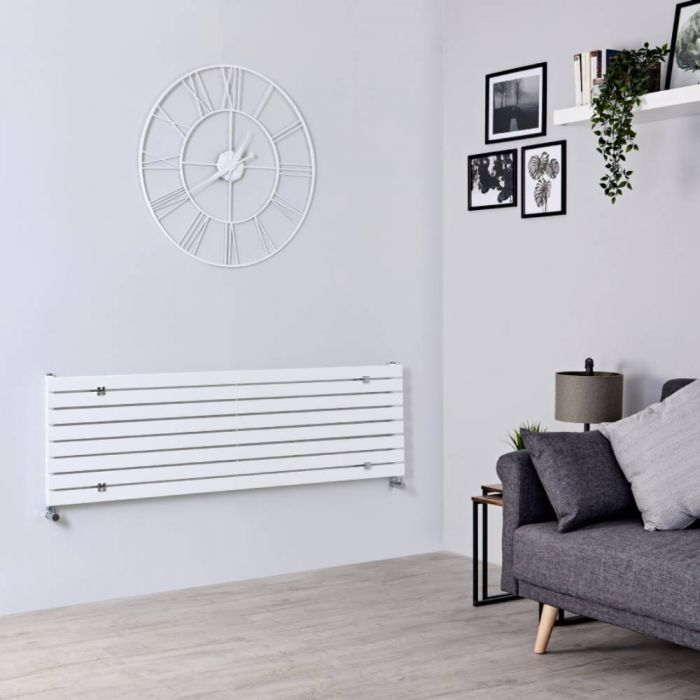 Milano Capri - White Horizontal Flat Panel Designer Radiator 472mm x 1600mm