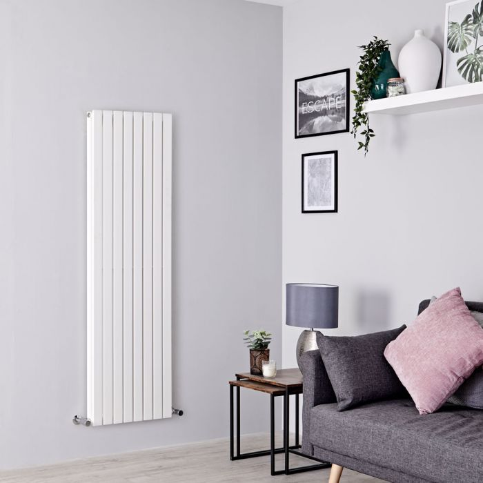 Milano Capri - White Flat Panel Double Designer Vertical Radiator 1600mm x 472mm