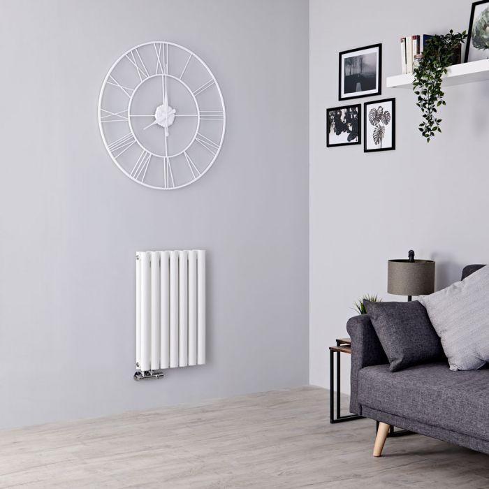 Milano Aruba Flow - White Horizontal Double Panel Middle Connection Designer Radiator 635mm x 413mm