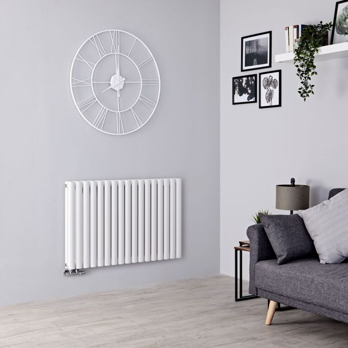 Milano Aruba Flow - White Horizontal Double Panel Middle Connection Designer Radiator 635mm x 1000mm