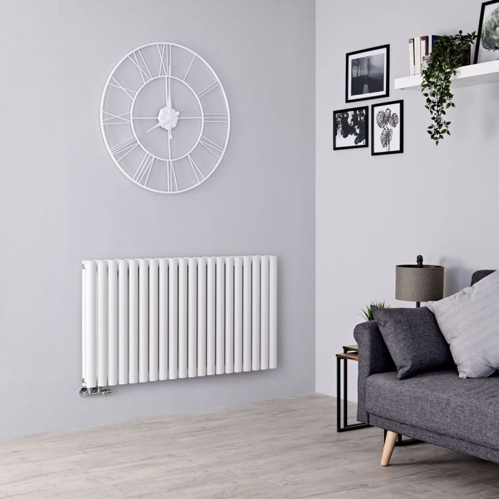 Milano Aruba Flow - White Horizontal Double Panel Middle Connection Designer Radiator 635mm x 1180mm