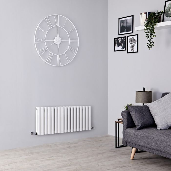 Milano Aruba - White Horizontal Designer Radiator 400mm x 1000mm (Double Panel)