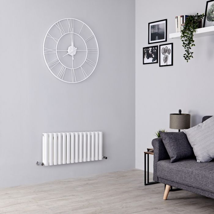 Milano Aruba - White Horizontal Designer Radiator 400mm x 826mm (Double Panel)