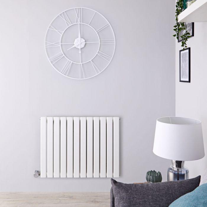 Milano Alpha Electric - White Horizontal Single Slim Panel Designer Radiator 635mm x 840mm