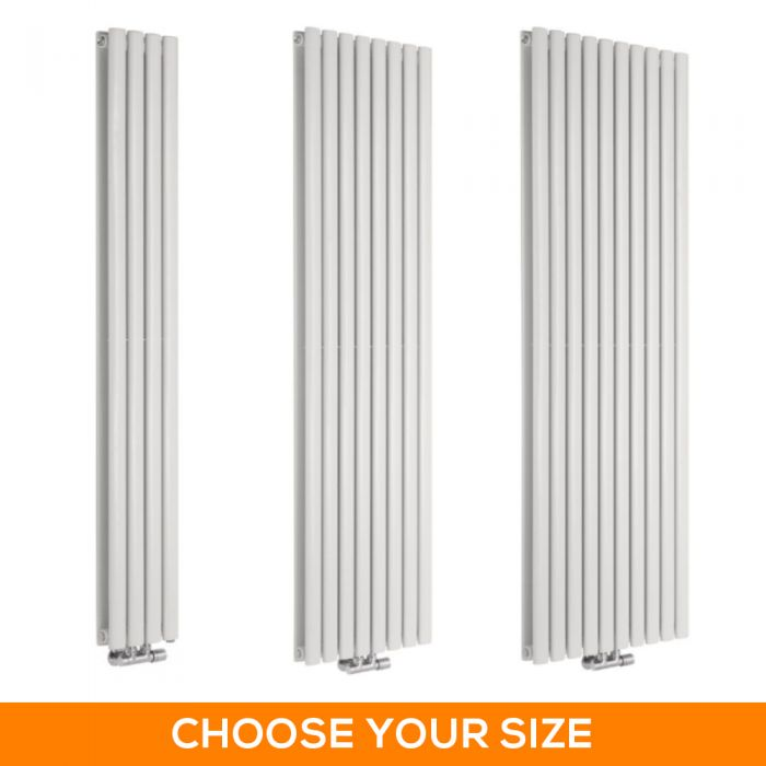 Milano Aruba Flow - White Vertical Middle Connection Designer Radiator - Various Sizes