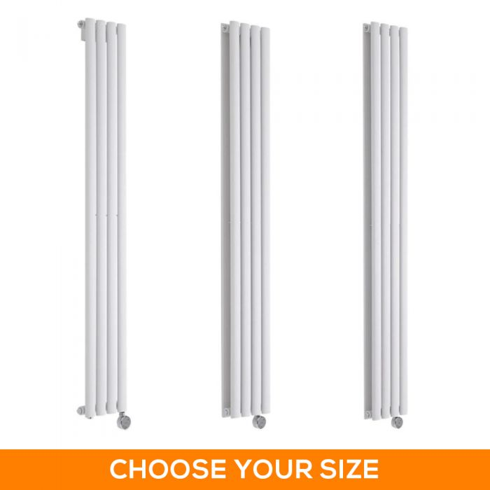 Milano Aruba Electric - 236mm White Vertical Designer Radiator - Various Sizes