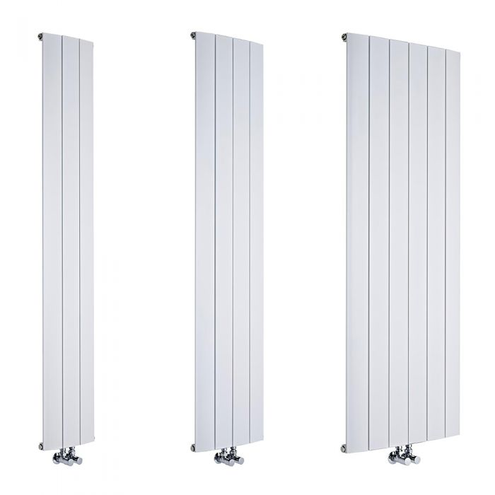 Milano Skye - White Aluminium Vertical Designer Radiator - Various Sizes