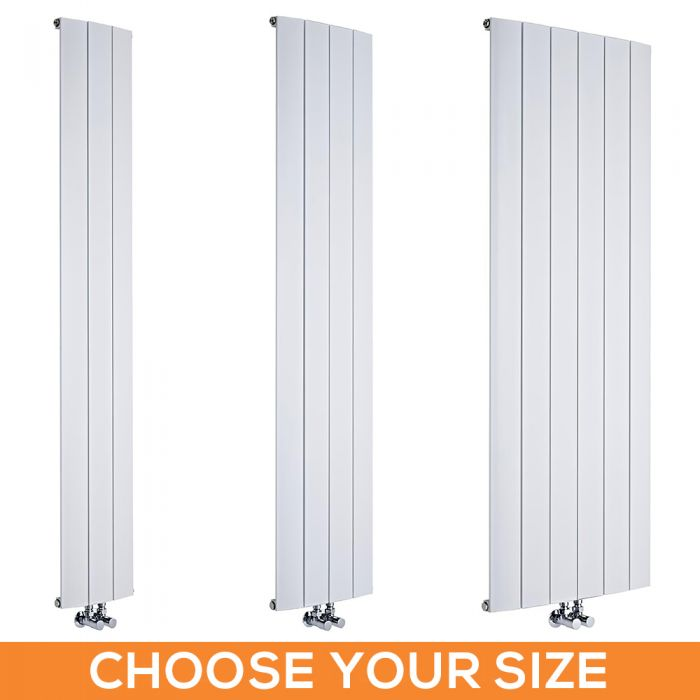 Milano Skye - White Aluminium Vertical Designer Radiator - Various Sizes