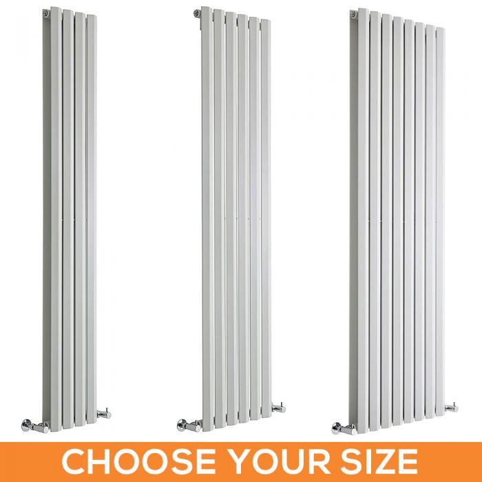 Milano Viti - White Vertical Diamond Panel Designer Radiator - Various Sizes