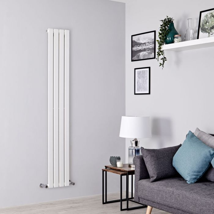 Milano Alpha - White Vertical Single Slim Panel Designer Radiator 1600mm x 280mm