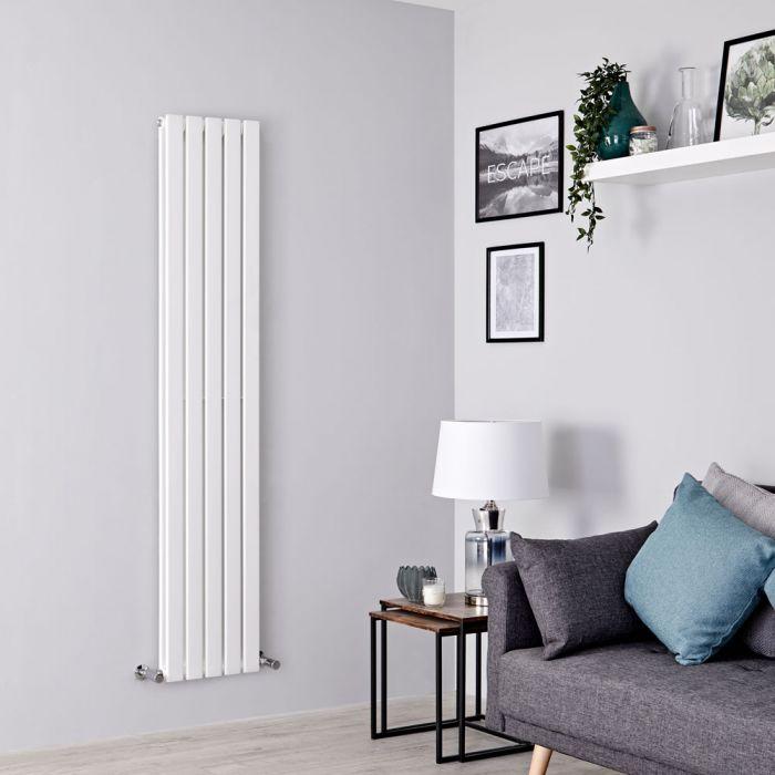 Milano Alpha - White Vertical Double Slim Panel Designer Radiator 1600mm x 350mm