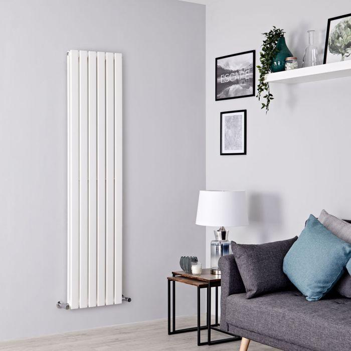 Milano Alpha - White Vertical Double Slim Panel Designer Radiator 1600mm x 420mm
