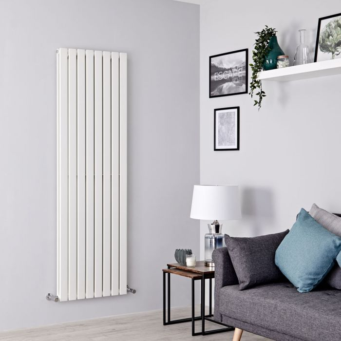 Milano Alpha - White Vertical Double Slim Panel Designer Radiator 1600mm x 560mm