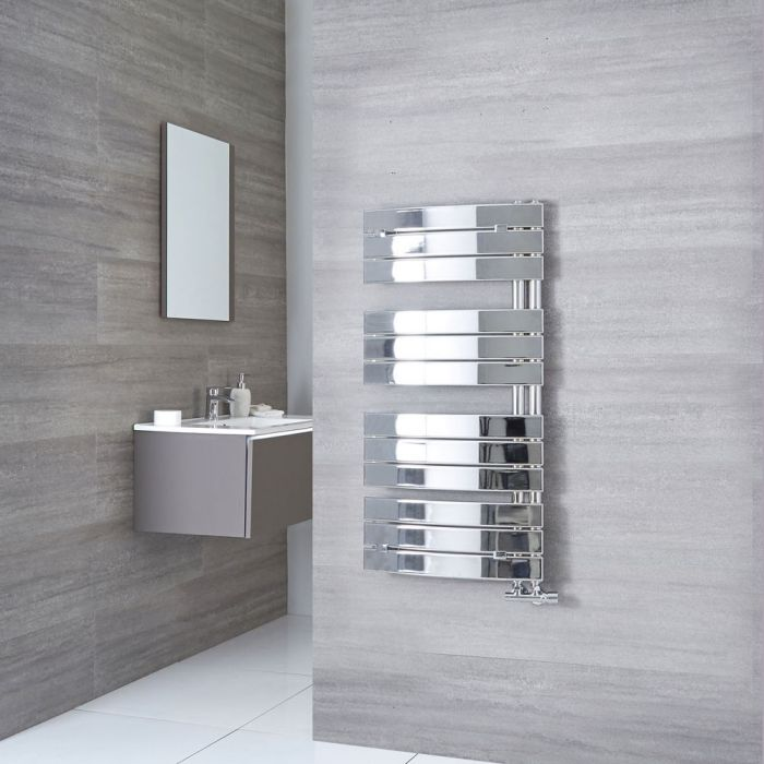 Milano Azore - Chrome Curved Heated Towel Rail 1080mm x 550mm